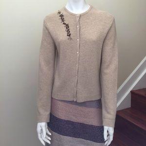 Ann Taylor Merino Blend Embroidered Cardigan Med